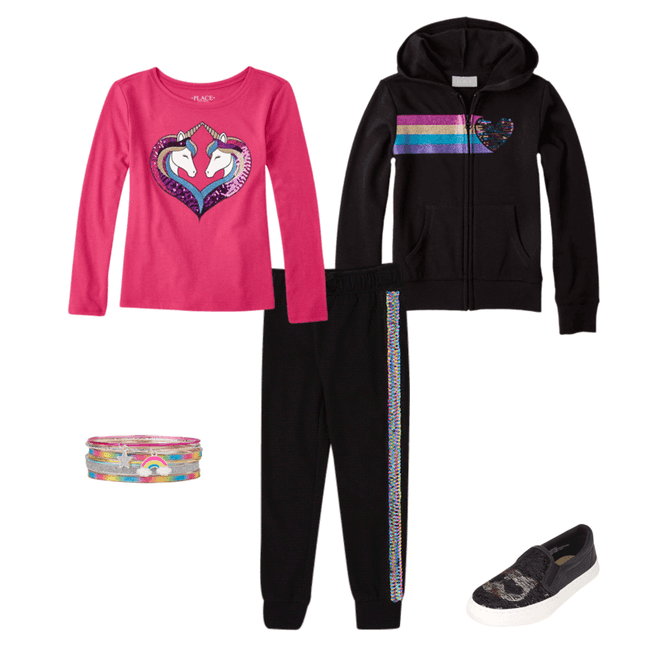 Black Jogging Suit for Girls. Children's Place Back to School Shopping Haul